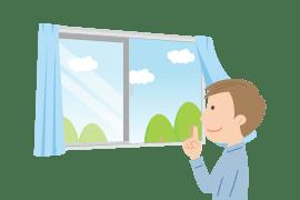 イラスト:窓を開けている男性